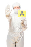 Woman in the affected area with radiation in a protective suit Royalty Free Stock Photography