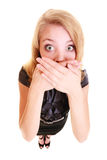 Woman afraid buisnesswoman covers her mouth isolated Royalty Free Stock Images