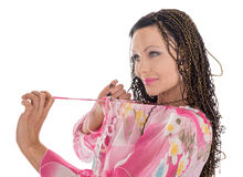 Woman with African braids. Woman in pink with African braids isolated on white Stock Photos
