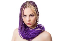 Woman with African plaits Stock Photo