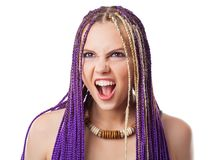 Woman with African plaits Royalty Free Stock Photo