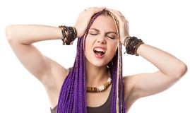 Woman with African plaits Stock Images