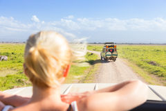 Woman on african wildlife safari. Royalty Free Stock Photos