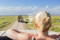 Woman on african wildlife safari observing nature from open roof safari jeep. Royalty Free Stock Images
