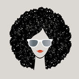 Woman with afro Hair. Sunglasses and pretty lipstick royalty free illustration