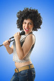 The woman with afro haircut on white Stock Images