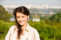 Woman against city of Kiev Royalty Free Stock Images