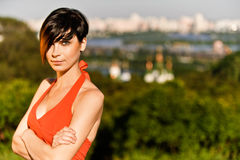 Woman against city of Kiev Royalty Free Stock Photos