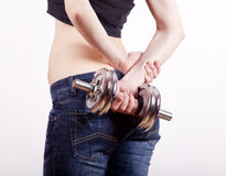 Woman against with sporty body Royalty Free Stock Photos
