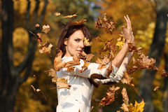 Woman against yellow leaves Stock Image