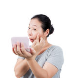 Woman is agape . Woman is agape mortified about spot in the skin Stock Photos