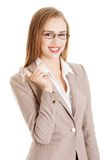 Woman agent holding the keys Stock Photos