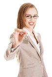 Woman agent holding the keys Stock Images