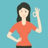 Woman agree. Cartoon character of woman smiling and making okay gesure. Flat design royalty free illustration