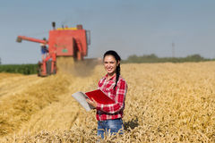 Woman agronomist in wheat field Royalty Free Stock Image