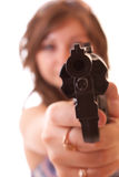 Woman aiming in camera isolated Royalty Free Stock Photos