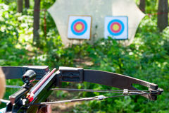 Woman aiming crossbow at target Royalty Free Stock Photography