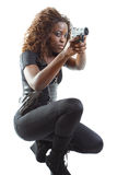 Woman Aiming a Gun Royalty Free Stock Image