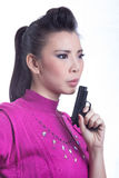 Woman aiming a gun Royalty Free Stock Photo
