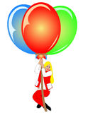 Woman on air with balloons Stock Photos