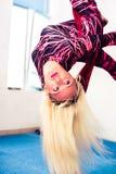Woman air gymnastics Stock Images