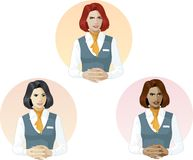 Woman in air hostess uniform support expert Stock Images