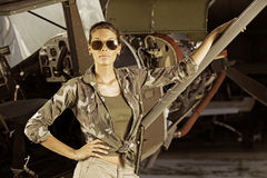 Woman airplane pilot Stock Photo