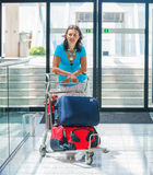 Woman at the airport Royalty Free Stock Photos