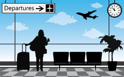 Woman at the airport terminal Royalty Free Stock Images