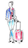 Woman in airport watercolor Royalty Free Stock Photo