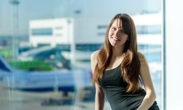 Woman in the airport Royalty Free Stock Photos