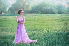 Woman in airy pink dress Royalty Free Stock Image