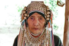AHKA Hill Tribe Woman, Northern Thailand. Woman from the Akha tribe with traditional headgear, Chiang Rai, Thailand, Asia royalty free stock photo