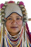 AHKA Hill Tribe Woman, Northern Thailand. Woman from the Akha tribe with traditional headgear, Chiang Rai, Thailand, Asia royalty free stock images
