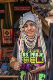 AHKA Hill Tribe Woman, Northern Thailand. Woman from the Akha tribe with traditional headgear sells souvenirs, Chiang Rai, Thailand, Asia stock images