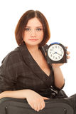 Woman with alarm clock Royalty Free Stock Photo