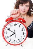Woman with alarm clock Stock Photo