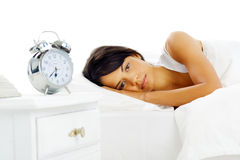 Woman alarm clock Royalty Free Stock Photos