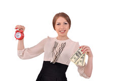Woman with an alarm clock and money Stock Images