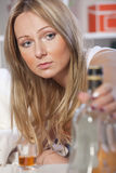 Woman and alcohol Stock Photos