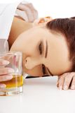 Woman with an alcohol problem Stock Photo
