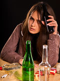 Woman alcoholism is social problem. Female drinking cause poor health Royalty Free Stock Images