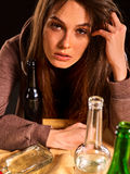 Woman alcoholism is social problem. Female drinking cause poor health. Royalty Free Stock Images