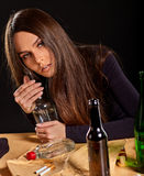 Woman alcoholism is social problem. Female drinking cause poor health. Royalty Free Stock Photos