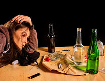 Woman alcoholism is social problem. Female drinking cause poor health. Stock Image