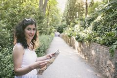 Woman in alhambra picture Royalty Free Stock Image