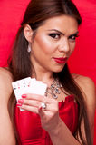 Woman with all aces in her hand Royalty Free Stock Photos