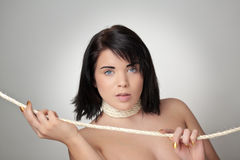 Woman all tied up Stock Photo