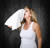 Woman allergic problems Royalty Free Stock Image