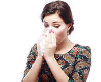Woman with allergy. Close-up portrait of a teen woman with allergy or cold Royalty Free Stock Image